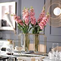 欧式现代不锈钢玻璃创意花瓶花艺套餐摆件别墅样板房装饰品