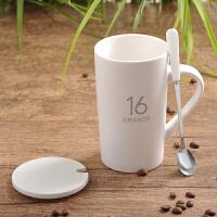 创意陶瓷杯子大容量水杯马克杯简约情侣杯带盖勺咖啡杯牛奶杯jj5