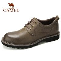 camel骆驼男鞋 秋季新款复古休闲时尚工装鞋真皮耐磨户外牛皮鞋子