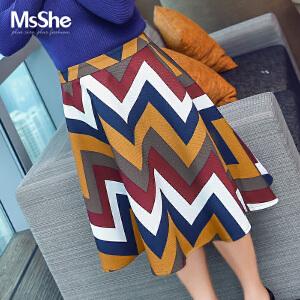 MsShe加大码女装2017新款秋装200斤胖MM欧美风印花半身裙M1640793