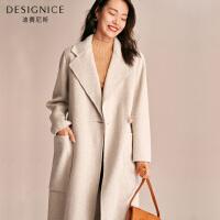 双面呢大衣女长款过膝时尚韩版西装领迪赛尼斯2019冬新款毛呢外套