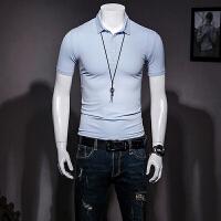 男士短袖POLO衫小翻领半截袖韩版修身半截袖保罗衫纯色简约体恤潮