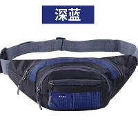 户外腰包男女收银钱手机包运动单肩包快递韩版骑行跑步旅行胸包 8777款深蓝色