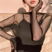 半高领内搭修身显瘦网蕾丝打底衫春装新款百搭性感透视衫女装