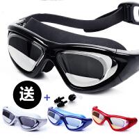 男女大框电镀近视泳镜高清透明平光防水防雾潜水游泳眼镜