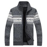 战地吉普冬季男士立领开衫毛衣男外套加绒加厚男装粗毛线带帽针织衫男