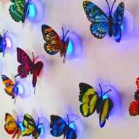 夜光蝴蝶墙贴卧室客厅儿童老人房电子发光夜灯立体蝴蝶墙贴画自粘 【双层蝴蝶】