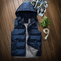 青少年冬季连帽棉袄迷彩马甲大码中学生保暖背心马夹大童男孩
