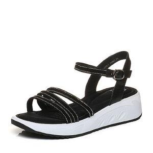 Tata/他她2018夏羊皮水钻一字带休闲坡跟女皮凉鞋S2A08BL8