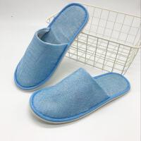 一次性拖鞋 待客居家情侣室内男女酒店夏季亚麻防滑加厚 蓝色 蓝色麻布全包 10双一组 均码