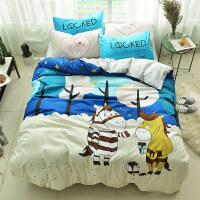 纯棉卡通床上四件套全棉1.5m儿童被子被罩床单人被套4三件套床笠