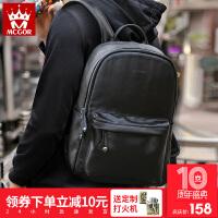 双肩包男士背包韩版旅行包简约时尚潮流皮质休闲电脑包学生书SN4949 潮酷黑+15天包退+质量三包+运费险