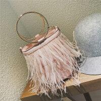 小包包女新款泰国潮牌圆环手提水桶包羽毛链条包女迷你斜挎包