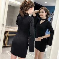 连衣裙秋装新款女复古显瘦长袖气质V领包臀修身小黑裙子