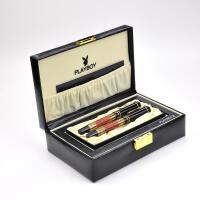 花花公子钢笔赛亚16系列黑漆花梨木金夹钢笔+宝珠笔对笔