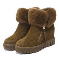 秋冬新款靴子女兔毛内增高雪地靴牛皮厚底加绒短靴保暖棉鞋真皮