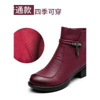 秋冬季单靴妈妈粗跟中跟短靴加绒保暖大棉鞋冬靴侧拉链中年女靴子真皮