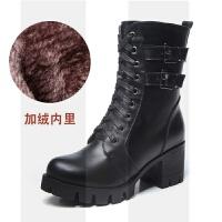马丁靴女短靴英伦风靴子机车靴女冬季高跟女鞋粗跟厚底真皮中筒靴SN7305