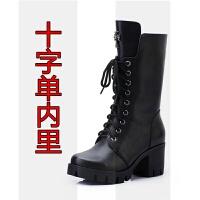 马丁靴女英伦风春秋季真皮粗跟中筒单靴冬款高跟显瘦雪地棉短靴潮SN4509