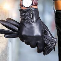 №【2019新款】冬天带的真皮手套男士触屏骑行山羊皮薄款骑车开车皮手套