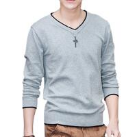 男士T恤秋季2018新款潮流韩版修身打底针织衫v领薄款长袖上衣服qg