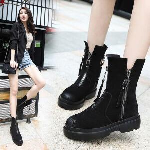 WARORWAR新品YM39-Z1799冬季欧美磨砂反绒平底舒适女士靴子马丁靴短靴