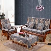 秋冬雪尼尔实红沙发座垫木头长椅垫带靠背加厚海绵防滑垫子