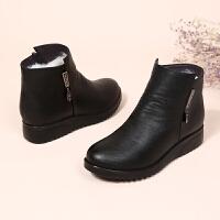 冬季新款妈妈棉鞋平底防滑真皮羊毛短靴女保暖中老年女靴加绒女鞋SN0201 黑色