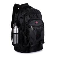 男士双肩包韩版潮女中高学生书包时尚运动电脑背包登山旅游包 黑色 纯黑色