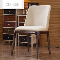 ZUCZUG实木餐椅 北欧时尚家用创意餐椅 水曲柳皮艺餐椅咖啡椅
