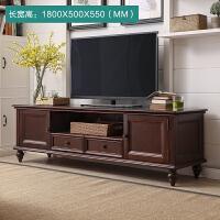 美式乡村实木电视柜茶几组合套装美式家具客厅电视机柜子简约地柜 整装
