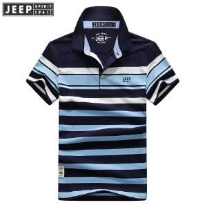 XW88夏装新款吉普JEEP纯棉弹力短袖T恤衫 商务休闲男士宽松polo