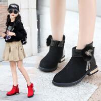 女童公主靴子2018新款秋冬加绒短靴宝宝儿童保暖冬鞋女孩低筒棉靴