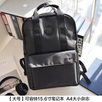 帆布背包双肩包男电脑包15.6寸时尚潮流校园书包女学生韩版旅行包 大号 黑色