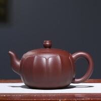 宜兴紫砂壶手工名家泡茶壶礼品茶具原矿紫泥莲瓣壶 莲瓣壶
