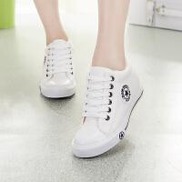 内增高帆布鞋 女士韩版平底内增高鞋2019新款女式系带休闲学生运动鞋女鞋子