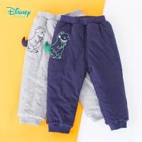 迪士尼Disney童装 男宝宝三层夹棉长裤抱抱龙卡通休闲裤冬季新款外着裤子194K897