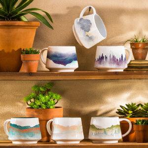 爱屋格林马克杯创意咖啡杯礼盒装陶瓷水杯办公室贴花杯子