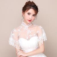 婚纱礼服披肩红色立领旗袍外搭新娘敬酒服披肩蕾丝夏女结婚小外套