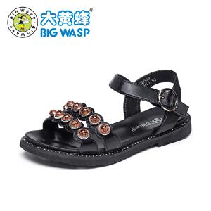 大黄蜂女童凉鞋 2019新款女孩夏季韩版黑色公主鞋 儿童鞋子中大童