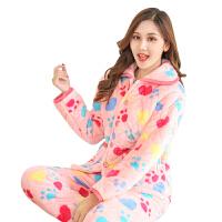 秋冬季珊瑚绒睡衣女法兰绒长袖套装大码加厚款家居服韩版甜美可爱