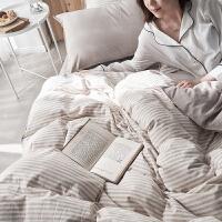 民宿风棉麻四件套水洗棉双人床单被套床笠文艺风床上用品日系套件