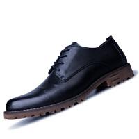 休闲皮鞋男商务秋季黑色青年尖头鞋子韩版潮流英伦百搭增高休闲鞋