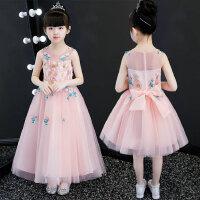 夏装新款女童公主裙拖尾背心裙粉色钢琴表演礼服儿童蓬蓬纱长裙子