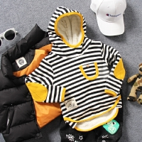 儿童加绒连帽卫衣冬款中小男童宝宝条纹百搭修身羊羔绒打底衫潮