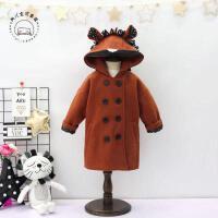 韩国童装女童冬季新款可爱耳朵连帽夹棉中长款呢大衣外套B3-S39