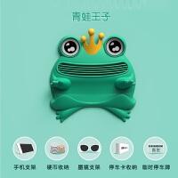 创意青蛙王子汽车防滑垫车载手机支架车用多功能导航架眼镜用品车载手机支架 青蛙王子
