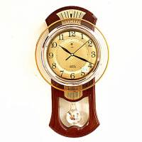 静音大挂钟客厅摇摆钟表现代时钟简约欧式石英钟卧室挂表 14英寸