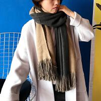 韩版秋冬季新款仿羊绒围巾加厚保暖大披肩韩国双面纯色流苏围巾女