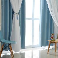网红窗帘成品ins全遮光卧室遮阳布美容院公主风少女简约现代